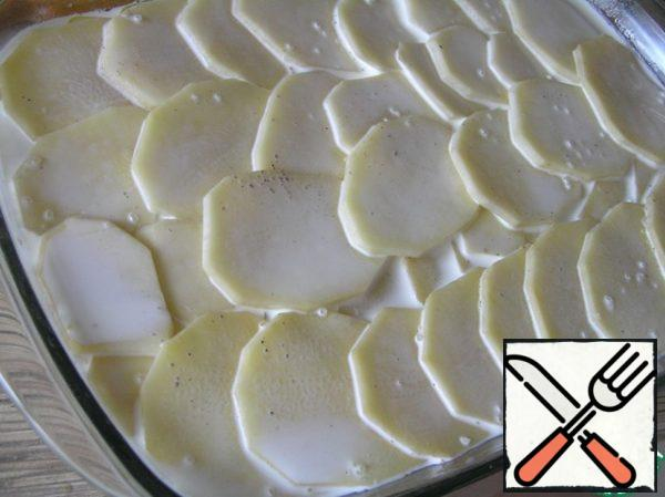 Put the remaining potatoes on top, add salt, pepper and cream. To close the form with foil.
