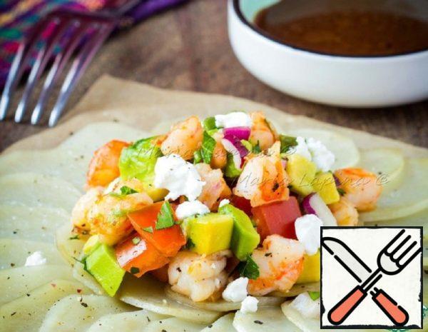 Salad with Shrimps on Potato Gratin Recipe