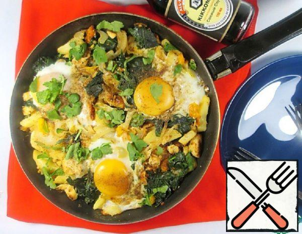 Potato Tortilla with Fried Eggs and Chicken Recipe