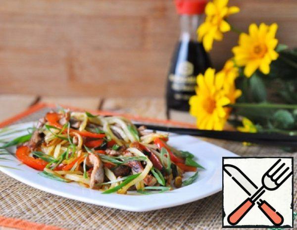 Hot Chinese Potato and Pork Salad Recipe