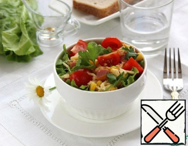 Salad with Ham, Corn and Cheese Recipe