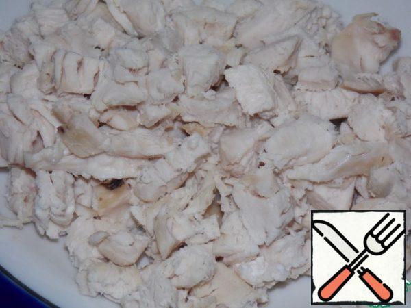 Chicken fillet finely chop.