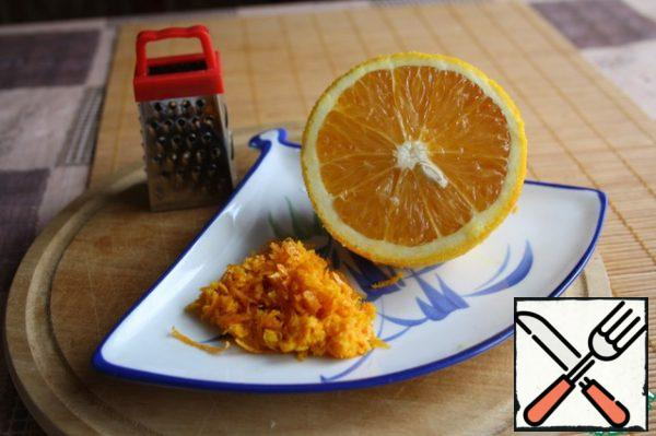 Grate the zest from one large orange.
