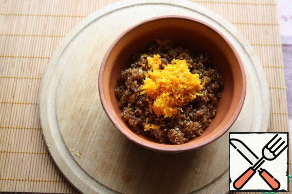 Mix the bulgur with caramelized orange zest.
