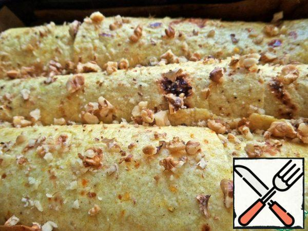 Sprinkle with crumbs of nuts or seeds.