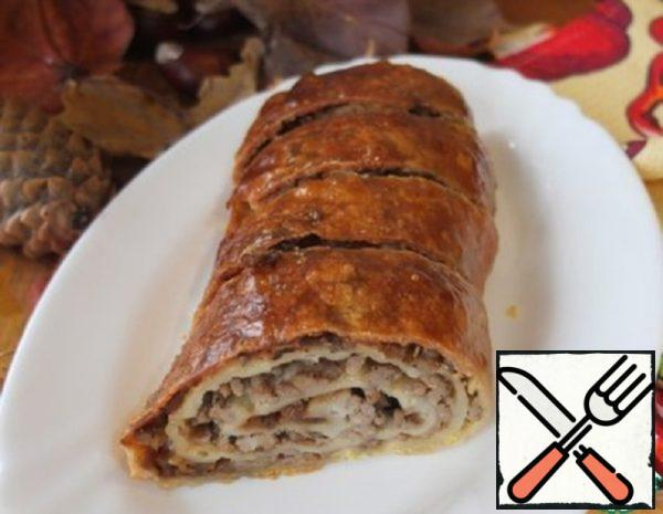 Meat Strudel with Caramel Onion Recipe