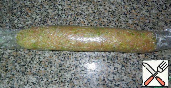 Shape the sausage. I do in cling film, but you can do in any shell.