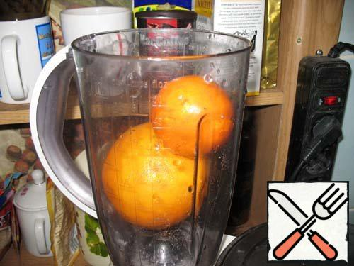 Oranges grind in a blender with the skin, removing the bones.