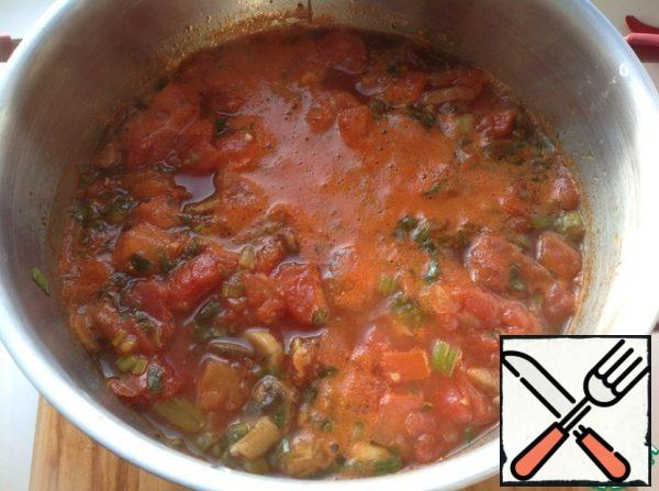 In a saucepan add tomatoes, broth and tomato juice. Bring to boil.