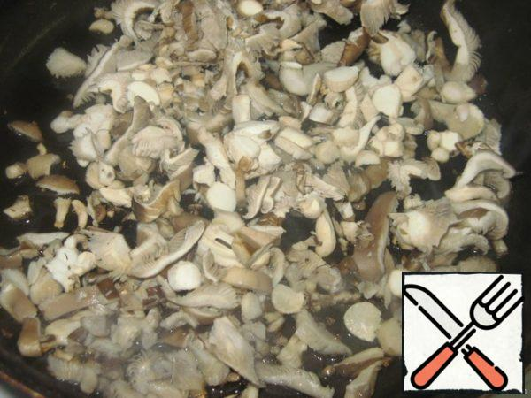 Mushrooms finely chop, fry.