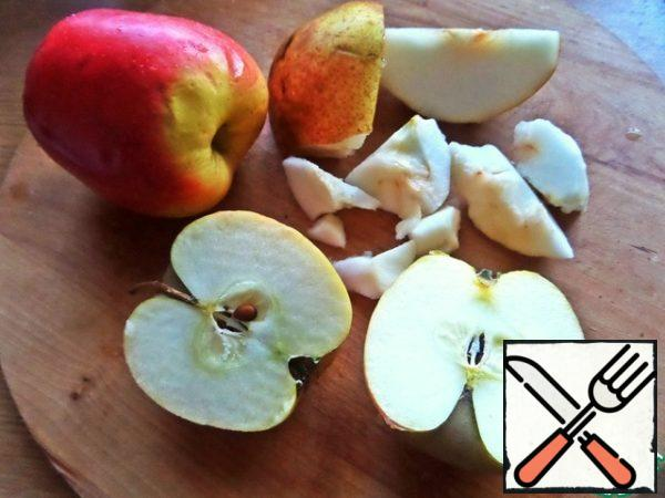 Apples and pears peel from the middle.