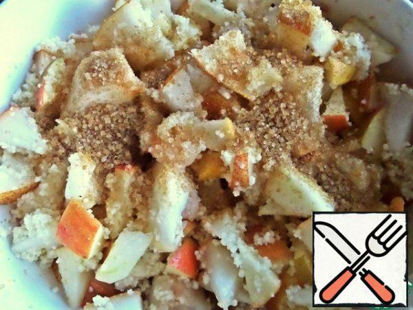 Add sugar, cinnamon, nutmeg and vanilla.