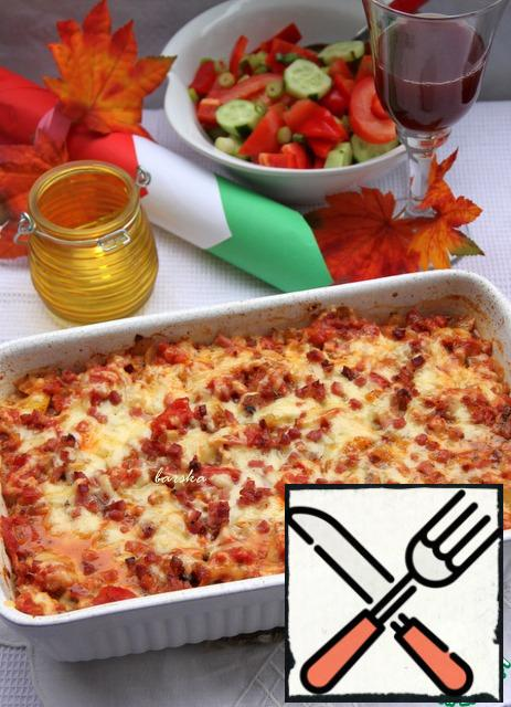 Bake in a preheated 200*oven for 20-25 minutes. It is recommended to serve gratin with fresh salad and red wine, for example, Merlot!
