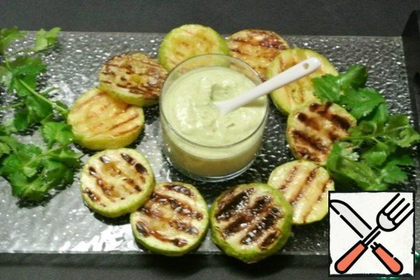 Serve separately to the grilled courgettes.