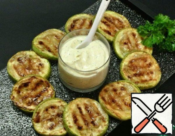Zucchini grilled with Cottage Cheese dip Recipe