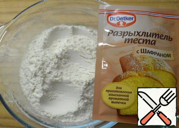 Sift flour with baking powder.