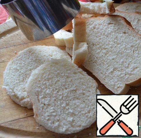Bread cut into circles.