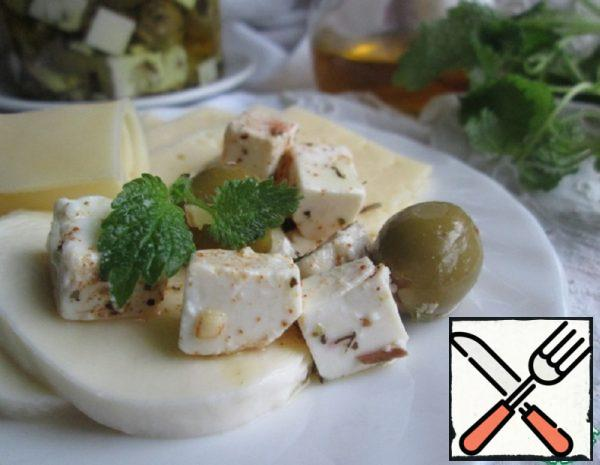 Pickled Feta Cheese with Olives Recipe
