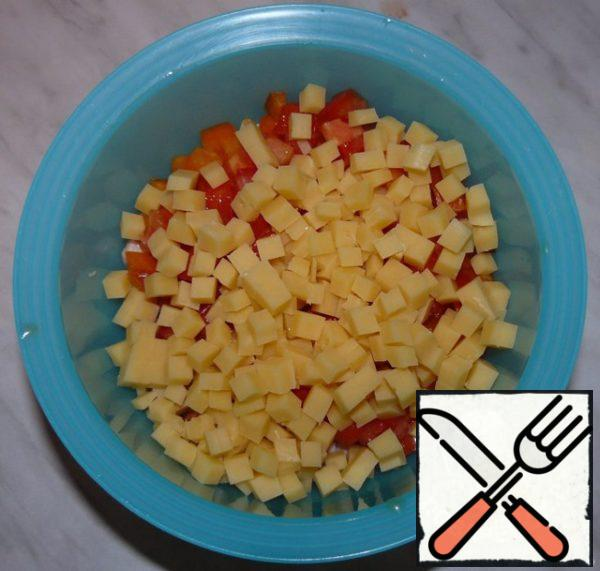 Also, cut the cheese into small cubes.
