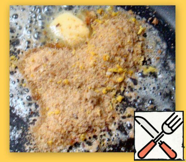 Fry in oil until Golden brown crumbs. All ingredients well knead.