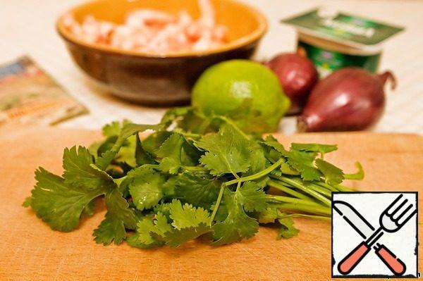 Finely chop the cilantro.