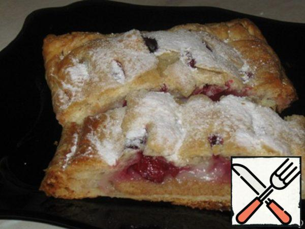 Puff Pastry Strudel with Cherries and Pudding Recipe