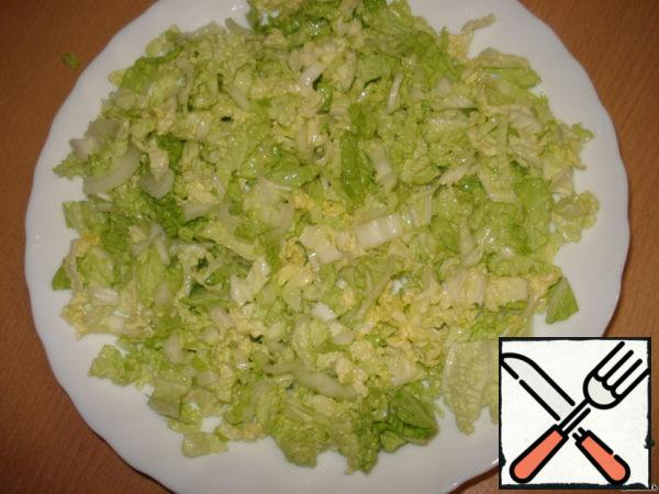Mix cabbage and onions, salt, add vegetable oil. It will be 1 layer.