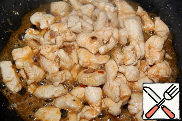 Fried the chicken until tender.