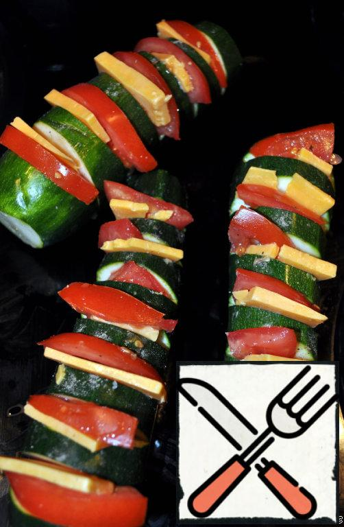 Put tomatoes and cheese in slices.