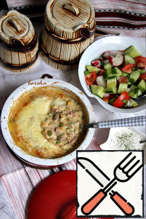 This gratin is recommended to be served with a salad of fresh vegetables. Bon appetit! Cook with relish!