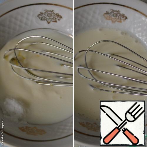 In a bowl combine milk, sour cream and soda.
