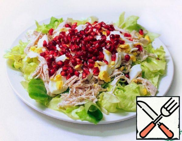 Light Salad with Chicken, Egg and Pomegranate Seeds Recipe