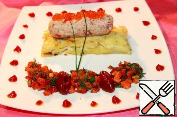 Salmon Mousse with Crab Sticks on Potato Gratin Recipe