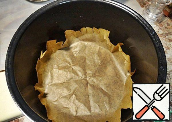 Bowl slow cooker for reliability can be covered with baking paper.