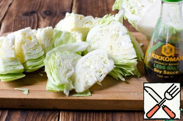 Young cabbage cut into slices.
