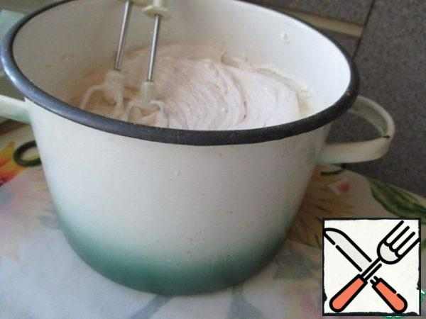 Then added a second egg white whipped until the whole mass has increased in volume times 3 -4.
