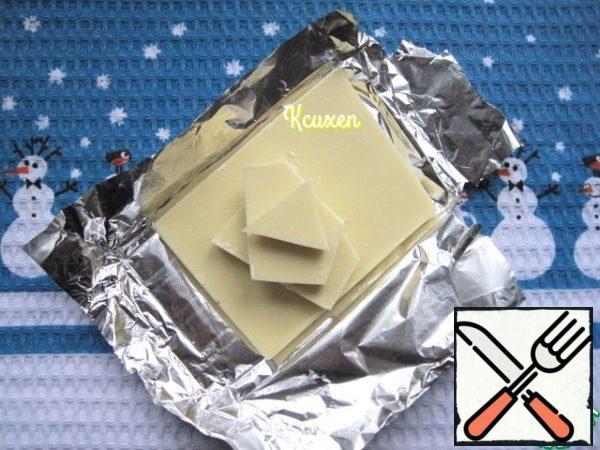 White tiles (non-porous!!!) chocolate break into pieces.