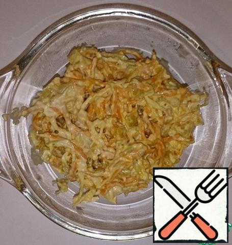 Mix, blend as you need in a bowl (if not all want to eat) and mayonnaise to taste ))) Bon appetit!)