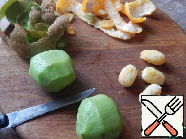 Peel and chop the fruit.