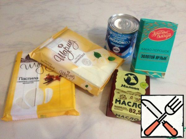 All the ingredients to prepare - they must be at room temperature.