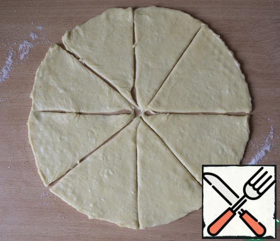 Divide the dough into 8 segments.