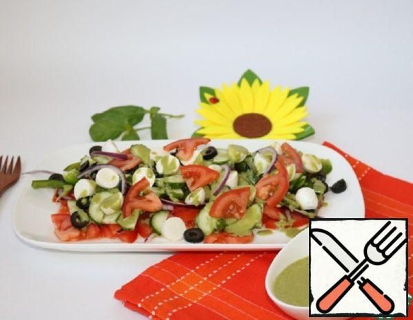 Salad with Basil dressing Recipe