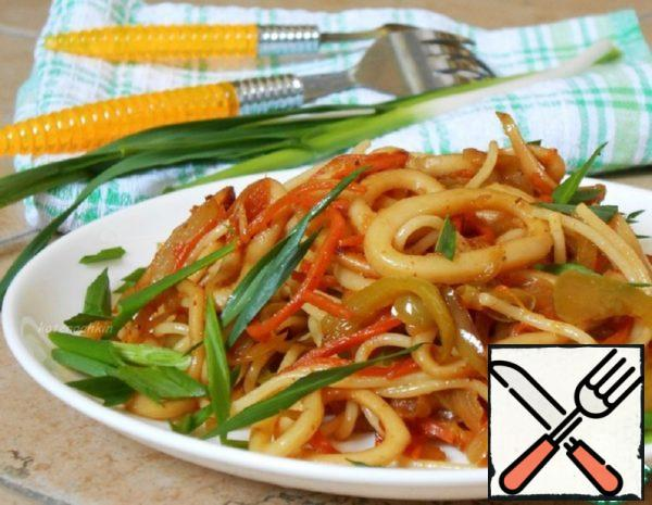 Pasta with Squid and Carrot in Korean Recipe