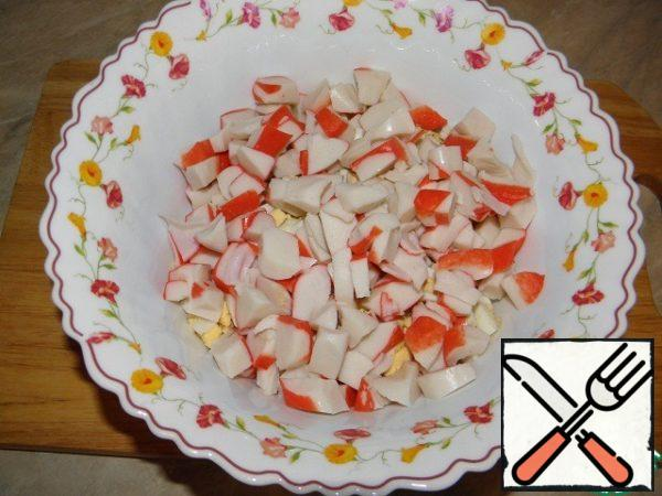 Crab sticks (I have crab. meat) cut into washers.
