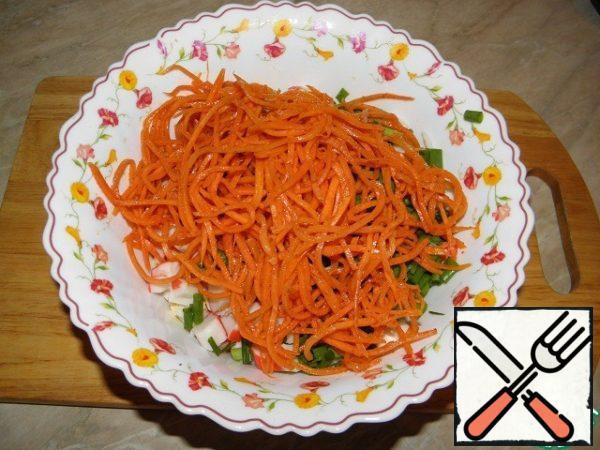 Put the prepared carrots in Korean.