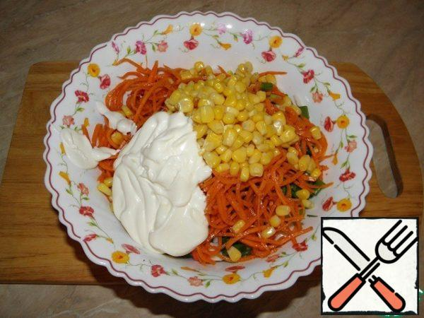 Season with mayonnaise.