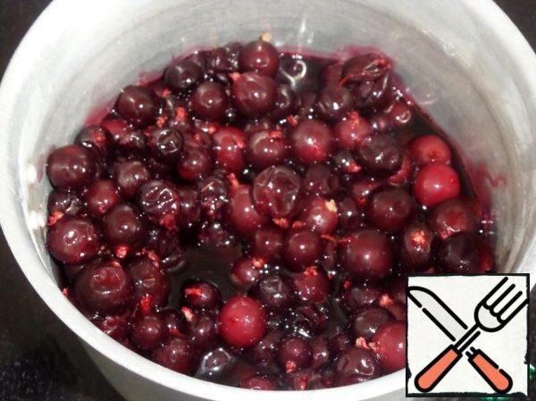 In a saucepan add the berries. (I used fresh-frozen, pre-thawed.) Add 2 tablespoons of water to fresh berries.