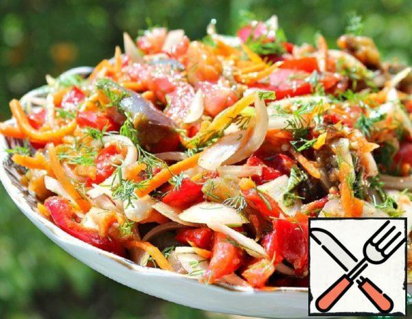 Korean Style Eggplant and Carrot Salad Recipe