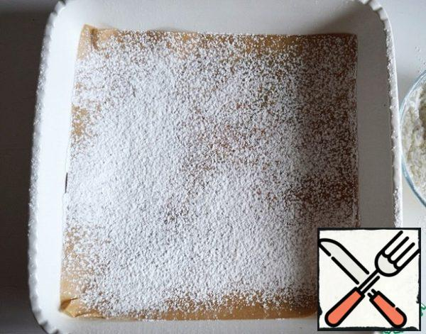 Square shape size 20*20 cover with baking paper and sprinkle with a thin layer of a mixture of powdered sugar and corn starch.
