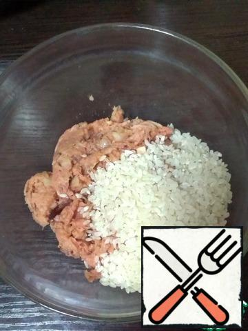 Mix minced fish with chopped onion and rice.